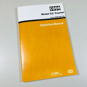 Case Cc Tractor Operators Owners Manual