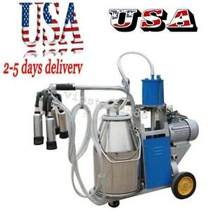 Auto Electric Milking Machine For Farm Cow Cattle Bucket Vacuum Piston Pump 2019