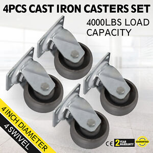 4 Swivel Casters 4 Heavy Duty Cast Iron Hub Core Poly Wheel Non Skid Mark