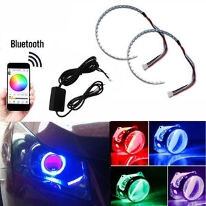 Demon Eyes Headlights Halo Ring Bluetooth Remote Rgb Led Retrofit Projector Len