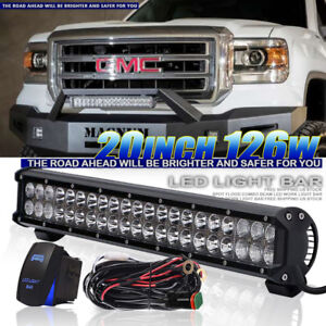 20 Led Light Bar Combo Offroad Lamp Waterproof For Jeep Ford Chevy 12v 24v