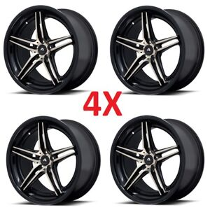 4 22 Inch Avs1 5x127 Chrome Lip Black Wheels Rims Lexani Forgiato Asanti Srt