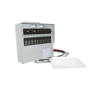 30 Amp 10 circuit Manual Transfer Switch With 2 pole 30 Amp Breaker Reliance