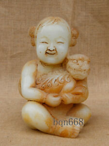 8 China Antique White Old Jade Angel Girl Embrace Foo Dog Lion Statue