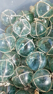 Japanese Glass Fishing Floats 2 Lot 5 Round Netted Buoy Balls Authentic Vintage