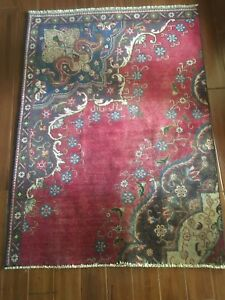 Vintage Collectible Persian Hand Loomed Wool Area Rug Sz 3 8 X 5 2 Approx