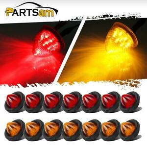 16x Amber red 2 Led Beehive Side Clearance Marker Lights W Grommets And Wiring
