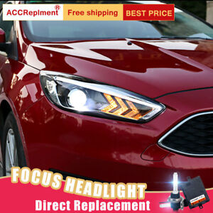 2pcs For Ford Focus Headlights Assembly Bi xenon Lens Projector Led Drl 15 18