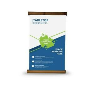 Table Top Bamboo Banner Stand Trade Show Display Counter Top Stand With Banner
