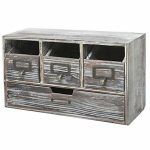 Rustic Brown Torched Wood Finish Desktop Office Organizer torched Wood