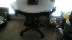 Antique Victorian Turtle Top Marble Top Table Top 1 White