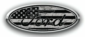 Ford Overlay Distressed Us Flag Black Grey Logo Overlay Decals 3pc Kit