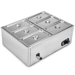 Commercial Food Warmer Portable Steam Table Countertop 6 Pots Soup Station