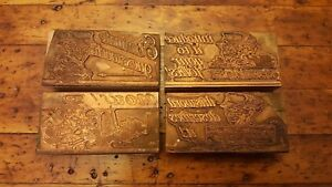 4 Vtg Letterpress Copper Wood Type Print Blocks Wamego Flour Ad Kansas 3 3 4