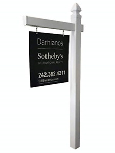 Real Estate Offer Sign For Sale Post Kit Vinyl Pvc 6 Tall Holds Up To 24 x36