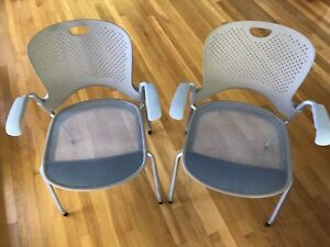 Pair 2 Herman Miller Caper Office home Stacking Grey Taupe Chairs Ergonomic Arms