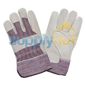 120 Pair Economy Men Leather Work Split Gloves Palm Glove Reinforced Fits All