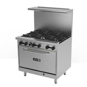 Asber Aer 6 36 e cas 36 Gas Restaurant Range With 6 Btu Open Burners 30 000