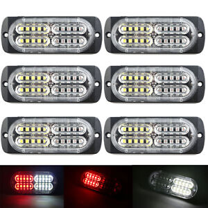 6x 20 Led Strobe Light Bar Truck Hazard Beacon Flash Warning Emergency Red White