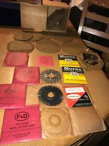Lot Of New Slitting Saw Blades Morse F d National With Custom Built Wood Box