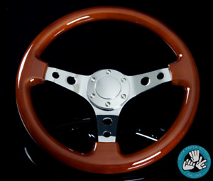 Rps Classic Wood Grain 3 Spoke Steering Wheel 330mm Chrome