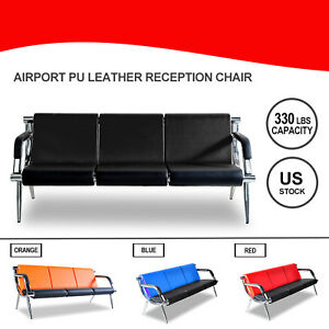 3 seat Waiting Chair Office Airport Bench Reception Pu Leather Guest Sofa Seat