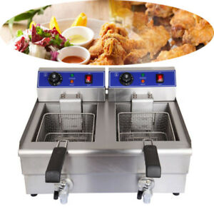 3600w 20l Electric Countertop Deep Fryer Dual Tank Commercial Restaurant Steel