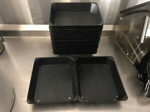 Lot Of 18 Stackable Dsi Black Thick Plastic Commercial Bakeware Display Platters
