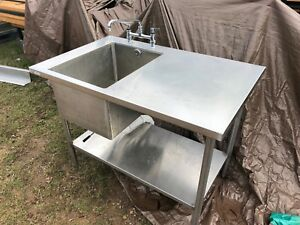 4 X 30 Stainless Steel Table 1 Compartment Sink Faucet Combo Bottom Shelf