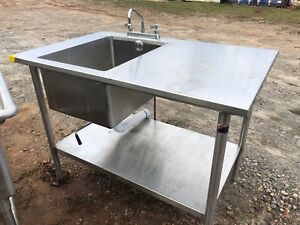 4 X 30 Stainless Steel Table 1 Compartment Sink Faucet Combo Heavy Duty Nsf
