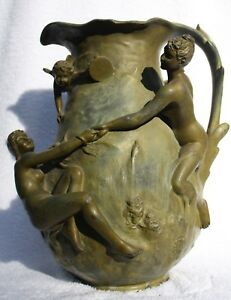 Antique French Art Nouveau Vase With 3 Female Nudes And A Cupid Circa 1900