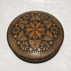 Vintage Turned Pyrography Folk Art Treen Floral Flower Trinket Sewing Box Poland