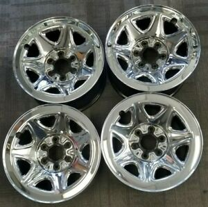 17 Chevy Gmc Silverado Sierra Oem Chrome Skin Steel Wheels Rims 17x8 2014 2019