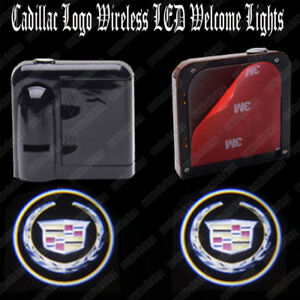 2pcs For Cadillac Wireless Led Car Door Logo Shadow Welcome Light Projector