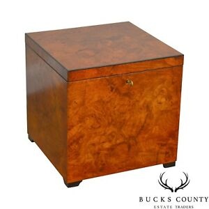Decorative Crafts Italian Burl Wood Cube Lidded Chest Side Table