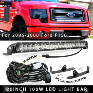 For 2006 2008 Ford F150 Lower Hidden Bumper Grille 20 100w Led Light Bar Wiring