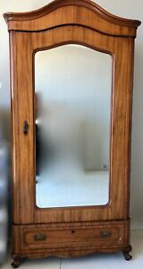 Antique Solid Walnut Small Mirrored Armoire
