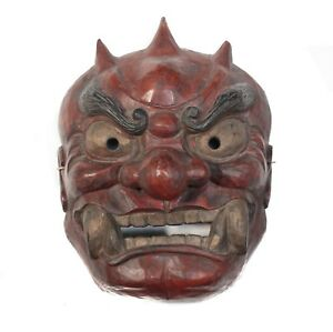 Monumental Japanese Shikami Oni Noh Mask Red Black And Gold Pigments Gesso Wood
