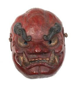 Monumental Japanese Shikami Oni Noh Mask Red Black And Gold On Gesso On Wood