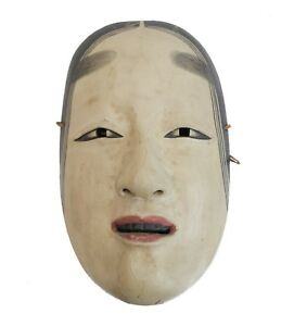 Japanese Zo Onna Noh Female Mask Polychrome Pigments On Gesso Over Carved Wood