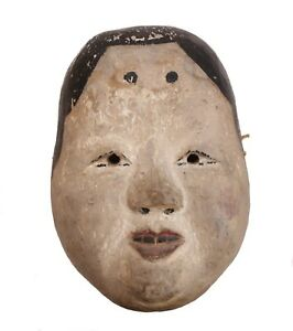 Japanese Okame Kyogen Onna Noh Female Mask Polychrome Pigments Gesso On Wood