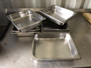Lot Of 8 Commercial Steam Table Stainless Steel Insert Pans Nsf Mixed Brands