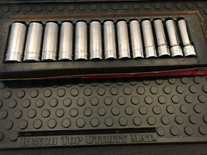 Snap On 13pc 1 2 Drive 6 Point Deep Chrome Socket Set 12mm 24mm 313tsmya