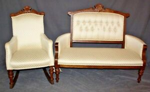 American Victorian Eastlake Parlor Set Settee And Rocking Chair
