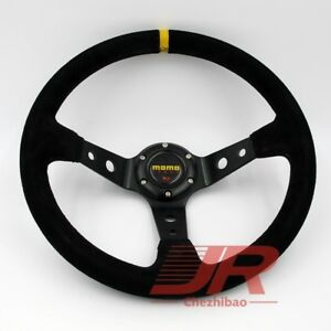 Universal 350mm Suede Leather Deep Dish Jdm Sport Racing Car Steering Wheel Momo