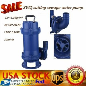 1 1kw 110v Sump Pump Industrial Sewage Cutter Grinder Cast Iron Submersible Hot