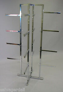 Folding Lingerie Clothes Hanger Rack 16 Adjustable 12 Straight Arms Chrome New