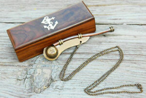 Antique Bosun S Whistle Brass Copper Boatswains Pipe With Wooden Storage Box