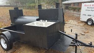 Bbq Smoker 36 Grill Trailer Sink Mount Catering Food Cart Truck Business Vending