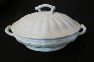 Vintage White Ironstone Large Covered Tureen Wheat Ceres Baker